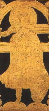 XIV a. Laurušavo evangelijos priekinio viršelio fragmentas