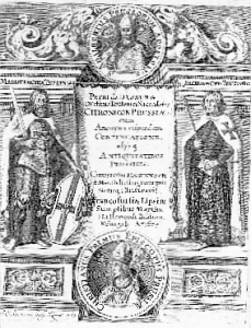 "Petro Dusburgiečio ""Chronicon terrae Prussiae"" titulinis lapas ( 1679 m. leidinys)"