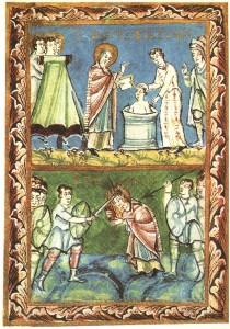 St_Boniface_-_Baptising-Martyrdom_-_Sacramentary_of_Fulda_-_11Century