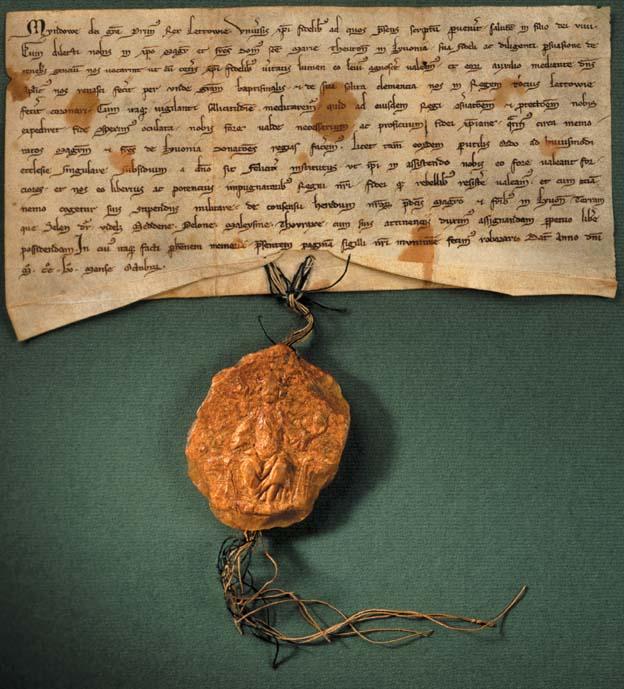 1255 m. karaliaus Mindaugo dovanojimo raštas, patvirtintas vieninteliu išlikusiu valdovo antspaudu.